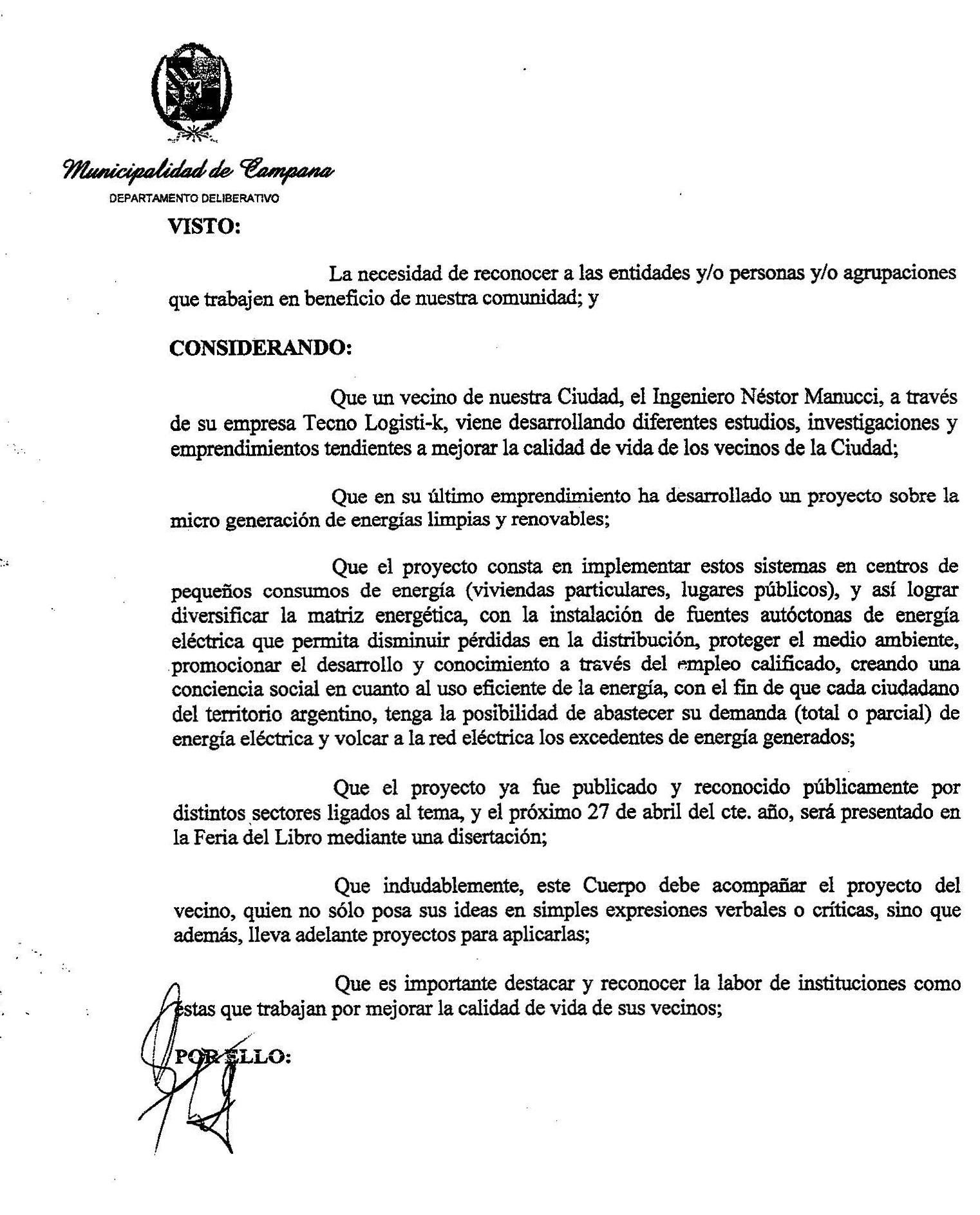 Interés Legislativo Proyecto de Microenergias Ciudad de Campana 1