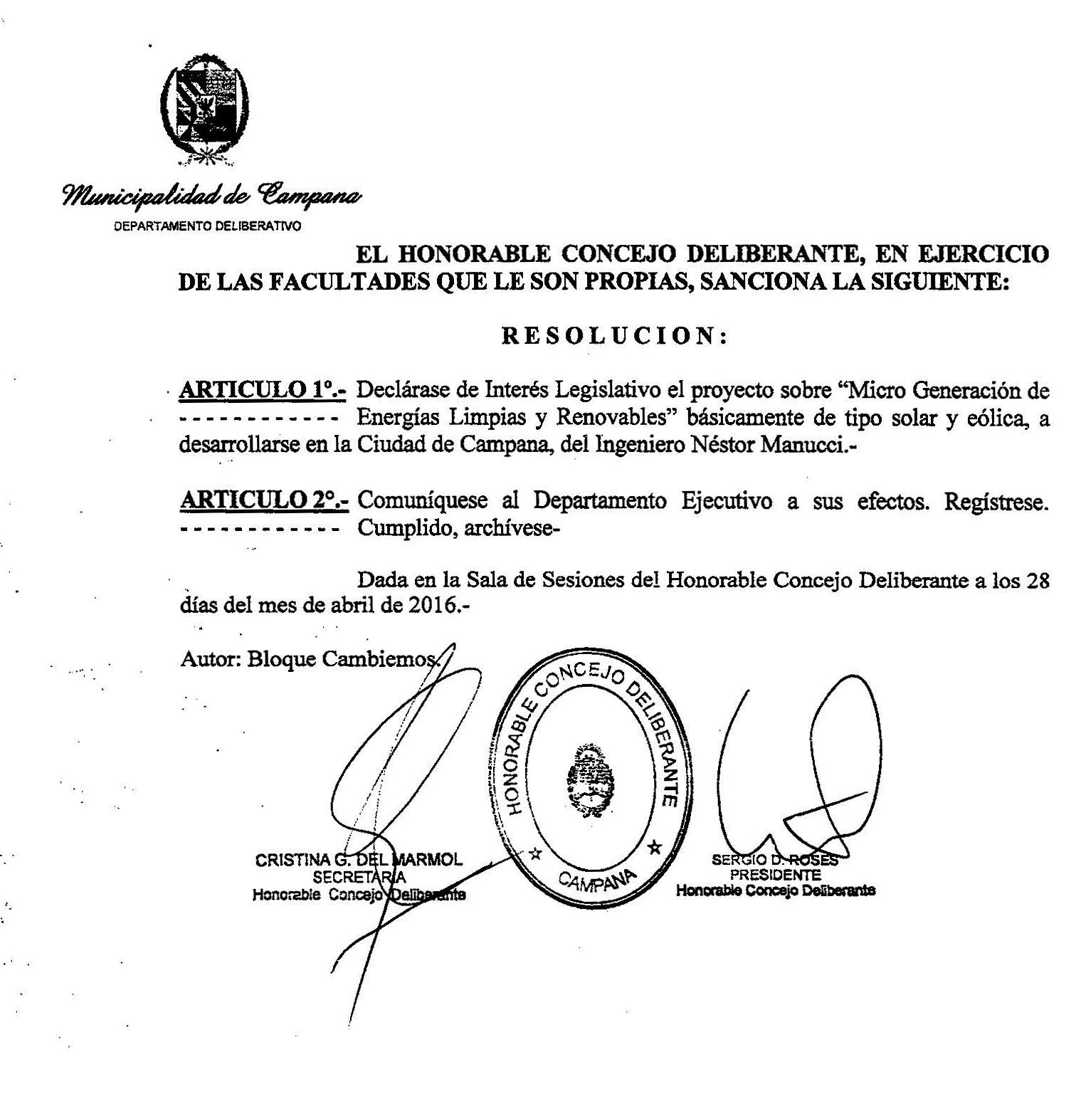 Interés Legislativo Proyecto de Microenergias Ciudad de Campana 2